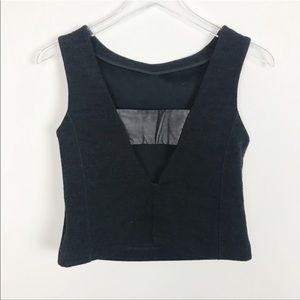 Banana Republic Black Cropped Open Back Tank Top